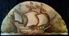 Mayflower on rough-cut pine 1/2 cross section (gift to family)