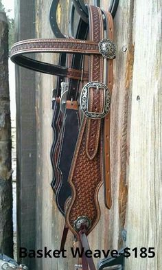 Custom Basket Stamped Western Horse Leather Headstall by Neely Saddlery