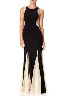 BELLISSA - Black maxi godet dress