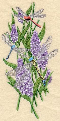 Dreaming of Dragonflies (this is a machine embroidered piece. I'd like to adapt something similar for handwork)