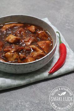 Babi Ketjap Boemboe (met kip) #zonder pakjes en zakjes! Food Menu, Tapas, Slow Cooker, Chili, Oven, Soup, Pasta, Dinner, Cooking