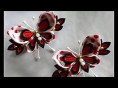 Канзаши своими руками Заколка для волос Бабочка - YouTube