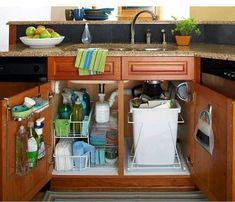 Under sink cabinet organization Kitchen Cabinet Organization, Organization Hacks, Kitchen Storage, Kitchen Cabinets, Organizing Ideas, Diy Kitchen, Kitchen Garbage Can Storage, Clean Cabinets, Rv Cabinets
