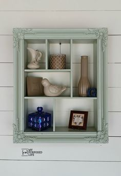 I love the color of this repurposed picture frame into a shadow box with cubbies. You can hang it vertically or horizontally. How clever.: A DIY Ornate Frame Shelf Cute Picture Frames, Picture Frame Display, Picture Frame Crafts, Picture Frame Decorating Ideas, Decor Ideas, Ideas For Frames, Painting Picture Frames, Vintage Picture Frames, 31 Ideas
