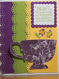 Cute tea cup card. Hand stamped using the Tea Shoppe stamp set by Stampin Up. Available on Etsy: https://www.etsy.com/listing/162711573/handmade-tea-cup-greeting-card?ref=shop_home_active