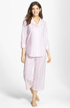 RALPH LAUREN Capri Pajamas Addison Stripe Pink Flamingo $59
