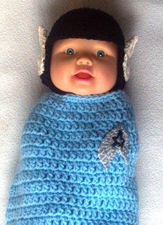 Spock Hat and Swaddler Cocoon, Star Trek, Great Photo Op, Newborn, crocheted. $30.00, via Etsy.