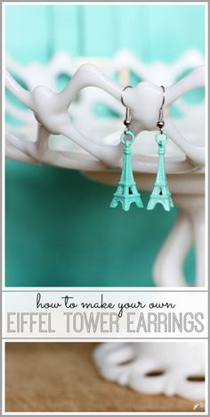 how to make your own eiffel tower earrings - - Sugar Bee Crafts #SpringtimeinParis