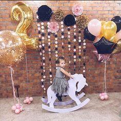 Love the color combination Balloon Backdrop, Balloon Decorations, Birthday Decorations, Balloons, Baby 1st Birthday, First Birthday Parties, Birthday Celebration, Girl Themes, Fiesta Party