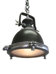 ORIGINALE PLAFONIERA LOUSIE INDUSTRIALE TONDO FABBRICA OLD BROWN CATENA LAMPADA