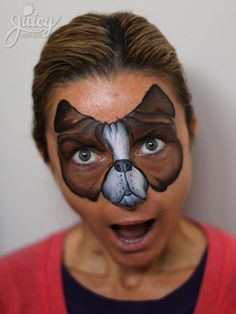 Boston Terrier dog mask face paint! More photos and info on workshops at www.JuicyBodyArt.com.  |  Art & Photo: Susanne Daoud  |  Model: Ilda Balaban