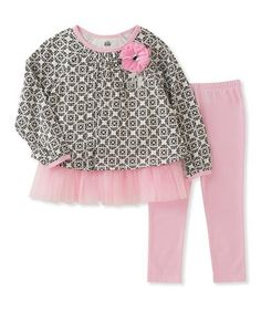 Loving this Pink & Black Geometric Tunic & Leggings - Infant, Toddler & Girls on #zulily! #zulilyfinds