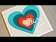 cardmaking video: Stacked Shape Die Cutting - YouTube ... another great video by Jennifer McGuire ... hearts for Valetine's Day in bright mod colors ...