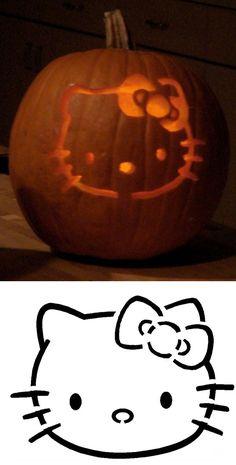 Pumpkin Templates and Stencils... Hello Kitty Pumpkin Stencil!