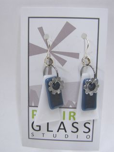 Fused Glass Dangle Earrings.