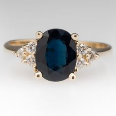 1.8 Carat Dark Blue Sapphire & Diamond Ring 14K Gold