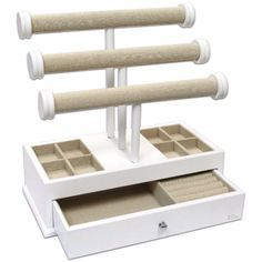 Ikee Design®Stylish Wooden Linen Triple Tier T-Bar Jewelry Organizer Case Desk Top Vanity Organizer