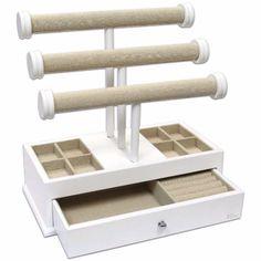 Ikee Design®Stylish Wooden Linen Triple Tier T-Bar Jewelry Organizer Case Desk Top Vanity Organizer