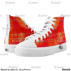 Hearts in colors - High-Top sneakers. #sneakers #sneaker #sneakersaddict #sneakerstyle #streetwear #redsneakers Red Sneakers, Custom Sneakers, Sneakers Fashion, High Top Sneakers, On Shoes, Converse Chuck Taylor, High Tops, Pairs, Unisex