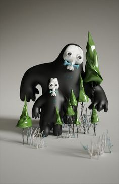 Wild Think by Piotr Holub contemporary ceramic macabre monster animation style sculpture