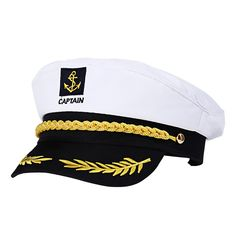 Amosfun Adult Captain Cosplay Hat Cap Yacht Boat Ship Sailor Navy Marine Admiral (White) ** For more information, visit image link. (This is an affiliate link) Navy Costume, Costume Hats, Captain Cap, Captain Costume, Marine Officer, Sailor Costumes, Yacht Party, Hip Hop, Navy Life