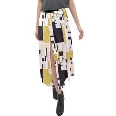 Abstract Scraps Yellow Split Maxi Skirt Velour Fabric, Tribal Prints, Abstract, Elegant, Yellow, Skirts, How To Wear, Dresses, Design