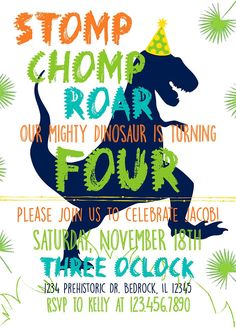 High-Resolution Digital Download Invitation (5X7) This adorable invitation is the perfect touch for your Dino-inspired birthday party. Once purchased, leave your party details in the notes and wait 24 hours for your personalized digital download. Upon purchase you will have