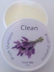 Clean: Brush Shampoo in Lavender Goats Milk.  The BEST brush cleaner I have ever encountered!