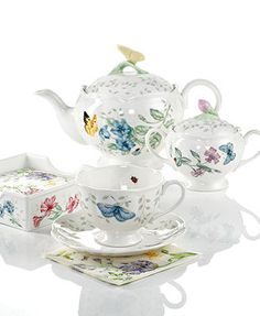 Image 1 of Lenox Dinnerware, Butterfly Meadow Gifts Collection Casual Dinnerware, Dinnerware Sets, China Dinnerware, Tea Cup Set, Tea Cup Saucer, Spring Cafe, Lenox Butterfly Meadow, China Tea Sets, Coffee Set