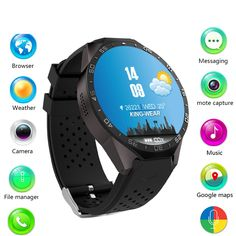 97.39$  Buy now - http://alids1.worldwells.pw/go.php?t=32791658232 - 2017 Hot kw88 Android 5.1 Smart Watch 512MB + 4GB Bluetooth 4.0 WIFI 3G Smartwatch Phone Wristwatch Support Google Voice GPS Map 97.39$