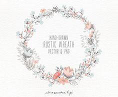 Floral wreath: Hand drawn floral clip art / Wedding invitation clip art / commercial use / PNG and Vector / Flowers / CM0062w2 by CheesecakeandPi on Etsy