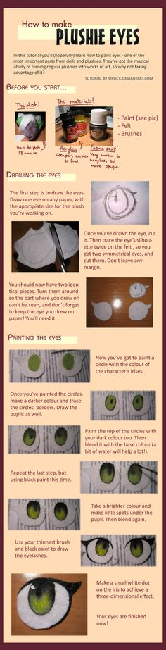Instructions to make plushie eyes.