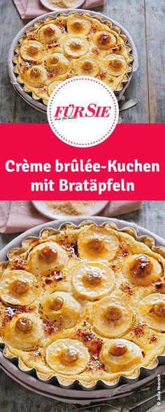 Crème brûlée-Kuchen mit Bratäpfeln