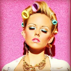 #pink #retro #hair #makeup #fashion #pinup #doll #rainbow #color #neon #eyeshadow #lips #jewelry #lindsaymarie