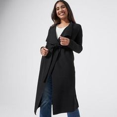 A classic for a reason, the black Dannii Minogue Petites long sleeve waterfall cardigan will cast a flattering drape on your cold weather styling this...