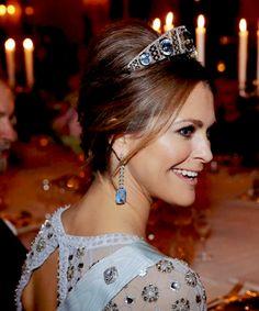 A close up of Princess Madeleine wearing the aquamarine tiara