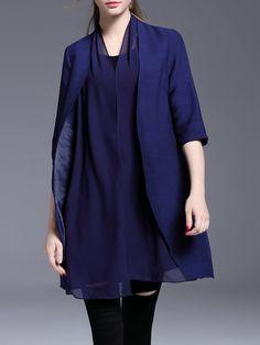#AdoreWe #StyleWe Coats - KK2 Navy Blue Polyester Casual Paneled Coat - AdoreWe.com