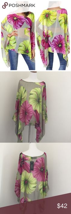 "NWT Floral chiffon caftan, tunic, top. One Size! Beautiful sheer chiffon caftan with pink & green Large floral print. Is perfect over a tank or even as a cover up for the beach making it a multifunction piece great for a vacation. It has cold shoulder cut outs, the neck opening may allow for one shoulder draping on the smaller lady but is very flattering on any shape. Approx Measurements, neck opening 14"", shoulder to hem 27.5"", across from seam to seam 41"" Tops Tunics"
