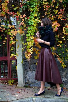 Burgundy Leather Full Midi Skirt