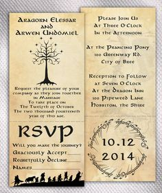SAMPLE Lord of The Rings Wedding Invitation Set by AprilSanson, $2.00