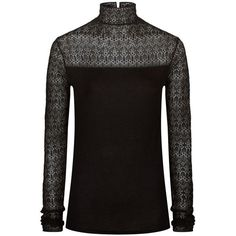 Polo Ralph Lauren Stretch Lace Turtleneck Jumper ($310) ❤ liked on Polyvore featuring tops, sweaters, polo neck jumper, long sleeve sweater, gothic sweaters, polo ralph lauren sweater and turtle neck top