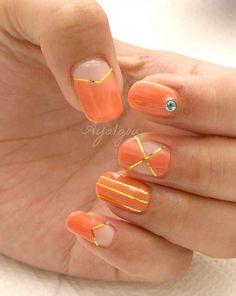 Orange nail art @redcarpetmani #rcmnailit #lifesabeach