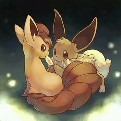 Vulpix and Eevee. My two Pokemon pets <3