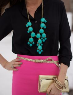 J. Crew Pencil Skirt, turquoise Necklace and Black Blouse...love the colors