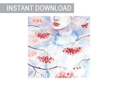 Christmas rowan print wall art Watercolor painting instant download digital file Red white winter snow rowanberry lady Square JPG downable
