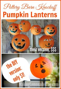 These Pottery Barn pumpkin lantern knock-offs cost only $1 to make, way less expensive than the catalog version! Cluster a bunch for big impact in your front porch or Halloween party-- for only $1 a pop, that's a whole lotta bang for your buck!
