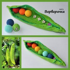 Pea Pod Crocheted toy food Motor skills by ForYourHappyBaby, $38.00