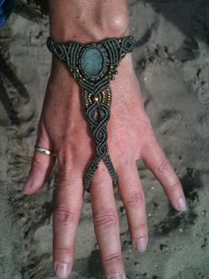 Macrame Bracelet with Brass Beads and Aventurine Gem. €35.00, via Etsy.