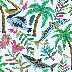 Pelicans Barricudas and sharks in the tropics  for @visslasurf #tropicali #illustration #instaart #pattern #design #drawing #color #wtv #nature by llewmejia