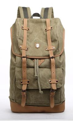 Great Canvas #Travel  #Leather #Backpack good for short travel, like a weekender bag.